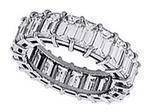 Emerald Cut Diamond Eternity Wedding Anniversary Ring H VS 4.02 tcw. In 14K White Gold
