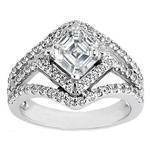 Asscher Diamond Diagonal Halo Engagement Ring Three Row Shank 0.83 tcw.