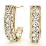 Vintage Style Diamond Hoops Yellow Gold