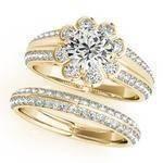Floral Filigree Diamond Bridal Set Yellow Gold