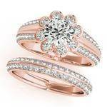 Floral Filigree Diamond Bridal Set Rose Gold