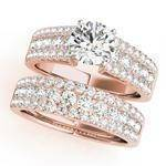 Three row band engagement ring, Rose Gold