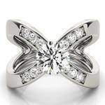 Criss Cross X Diamond Open Band Engagement Ring