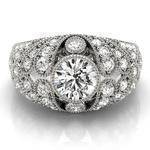 Vertical Three Stone Vintage Diamond Engagement Ring