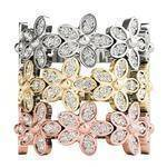 Diamond Flower Stackable Rings Set