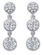 Three Stone Graduated Drop Round Diamond Bezel-Set Dangle Earrings 3.10 tcw. H SI