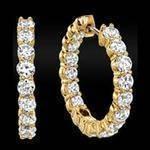 3.00 tcw. Hoop Diamond Earrings in 14 Karat yellow gold, H SI