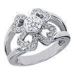 Heart Flower Diamond Ring in 14 Karat White Gold