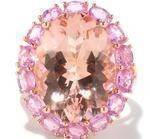 Large Oval Morganite Pink Sapphire Halo Rose Gold Ring