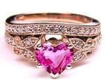 Pink Sapphire Heart Shape Diamond Butterfly Bridal Set in 14K Pink Gold