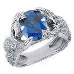 Oval Blue Sapphire and Round Diamond European Style Engagement Ring
