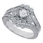 Vintage Flower Diamond Engagement Ring 0.75 TCW