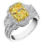 Fancy Yellow Cushion Diamond Halo Half Moon Side Stones Engagement Ring