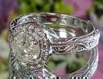 Diamond Halo Engraved Engagement Ring
