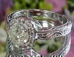 Diamond Halo Engraved Engagement Ring