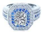Square Halo Diamonds & Blue Sapphires Engagement Ring 0.45 tcw.