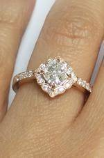 Art Deco Swing Halo Cushion Diamond Rose Gold Engagement Ring