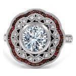 Large Halo Diamond & Ruby Art Deco Engagement Ring