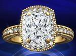 Tonnaeau Cushion Diamond Engagement Ring in 14 Karat Yellow Gold, 1 tcw