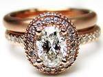 Oval Diamond Engagement Ring with double halo and Diamond band in 14K Pink Gold 0.52 tcw.