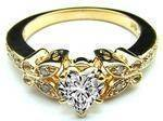 Heart Shape Diamond Butterfly Vintage Engagement Ring In Yellow Gold