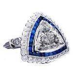 Trillion Diamond & Sapphire Edwardian Era Engagement Ring 1.7 tcw.