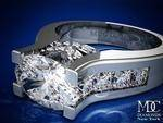 Horizontal Oval Diamond Platinum Engagement Ring Princess Band