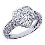 Vintage Style Bezel Set Heart Shape Diamond Engagement Ring with Pave Set Diamonds, 1.32 tcw.