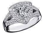 Triangular Halo Diamond Engagement Ring 0.88 tcw.