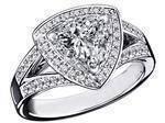 Triangular Halo Diamond Engagement Ring 0.88 tcw.