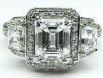 Emerald Diamond Vintage Design Halo Engagement Ring Cadillac trapezoids side stones