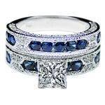 Vintage Style Round Diamond and Blue Sapphire Wedding Band