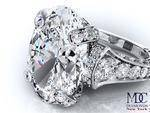 Large Oval Graduated Diamonds Engagement Ring In Platinum