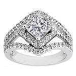 Cushion Diamond Diagonal Halo Engagement Ring Three Row Shank 0.83 tcw.