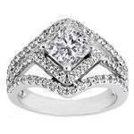 Cushion Diamond Diagonal Halo Engagement Ring Three Row Shank 0.83 tcw.