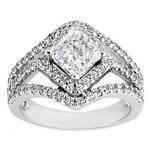 Radiant Diamond Diagonal Halo Engagement Ring Three Row Shank 0.83 tcw.