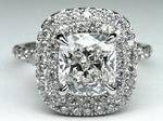 Cushion Diamond Double Halo Pave Engagement Ring.