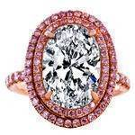 Oval Diamond Engagement Ring Double Halo Pink Diamonds Rose Gold