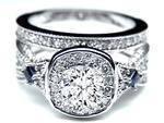Diamond Halo Laced Bridal Set Blue Sapphire accents