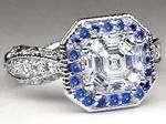 Asscher Diamond Vintage Pave Engagement Ring, Blue Sapphire halo