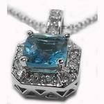 Blue Topaz and Round Diamonds Pendant