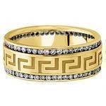 Meander Greek Key Men's Diamond Wedding Ring in Yellow Gold 9mm