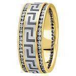 Greek Key Men's Diamond Wedding Ring in Two Tone Gold 9mm