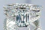 Emerald Cut Diamond Split Band Engagement Ring Setting Beyonce's Choice & Matching Wedding Band