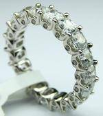 Asscher Cut Diamond Eternity Wedding Band with Round Bezel Set Diamond in 14k White Gold